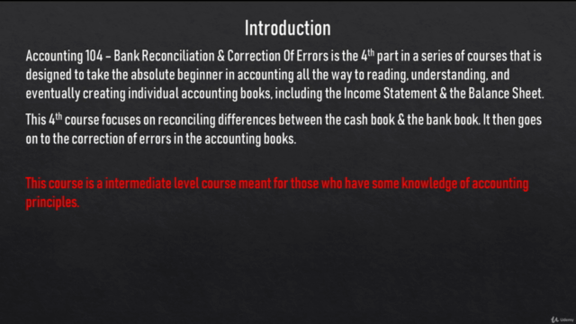 Accounting 104 - Bank Reconciliation & Correction Of Errors