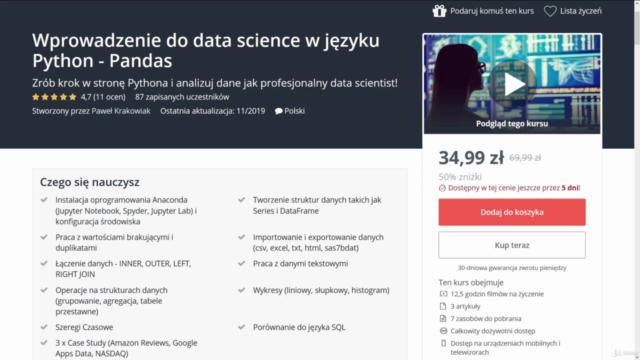 Wprowadzenie do data science w języku Python - Pandas - 2021