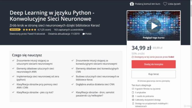 Deep Learning w języku Python - Konwolucyjne Sieci Neuronowe
