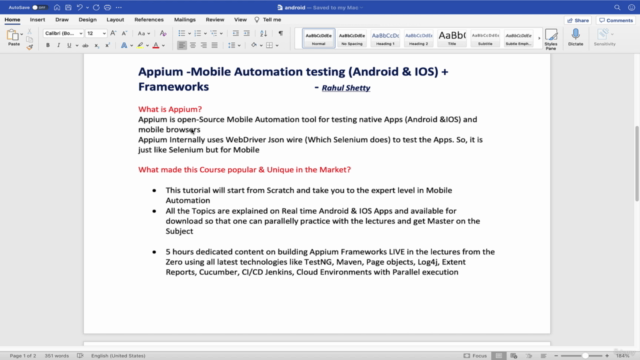 Appium -Mobile Testing (Android/IOS) from Scratch+Frameworks