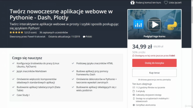 Twórz nowoczesne aplikacje webowe w Pythonie - Dash, Plotly
