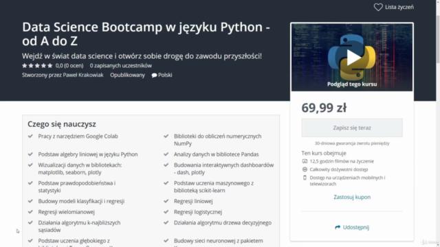 Data Science Bootcamp w języku Python - od A do Z - 2021