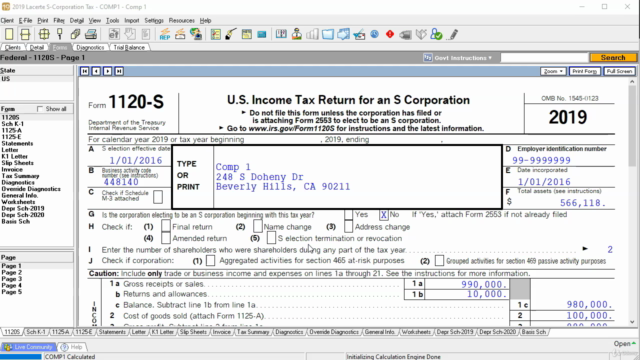S Corporation Income Tax - Form 1120S