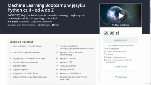 Machine Learning Bootcamp w języku Python cz.II - od A do Z