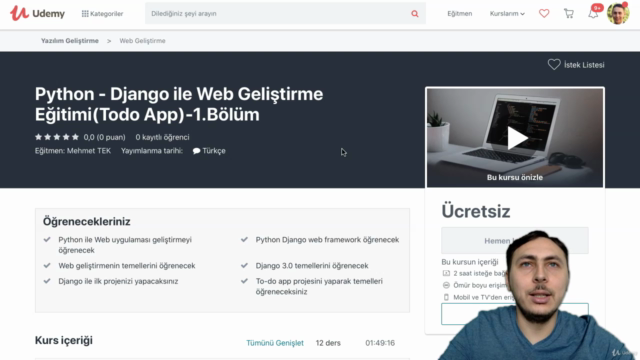Python - Django ile Web Geliştirme Eğitimi(Todo App)-1.Bölüm
