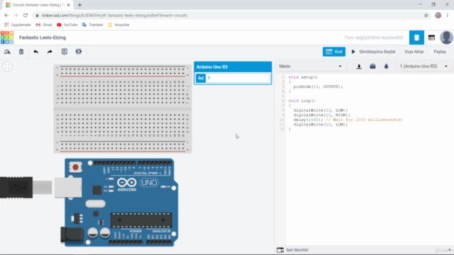 Tinkercad Simulatoru ile Uygulamalı Arduino Yazılım Dersleri