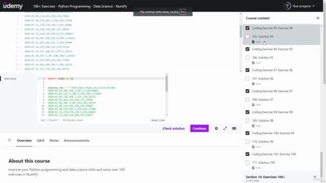 100+ Exercises - Python Programming - Data Science - NumPy