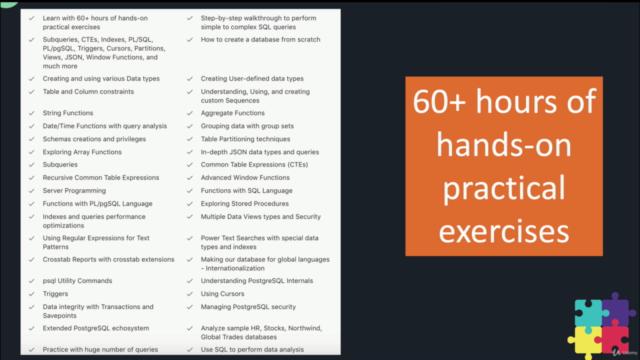 PostgreSQL Bootcamp : Go From Beginner to Advanced, 60+hours