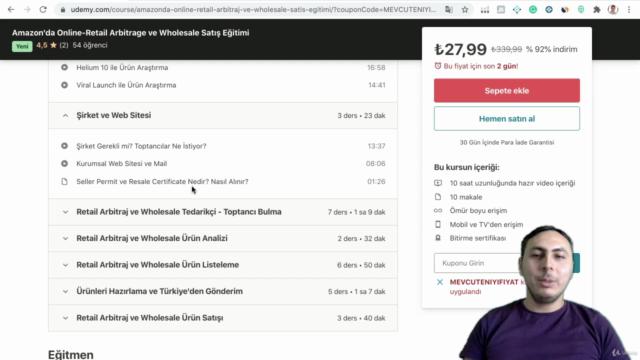 Amazon'da Online-Retail Arbitrage ve Wholesale Satış Eğitimi