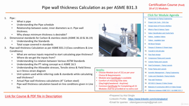 Pipe Wall thickness Calculation II Allowables II PT Rating