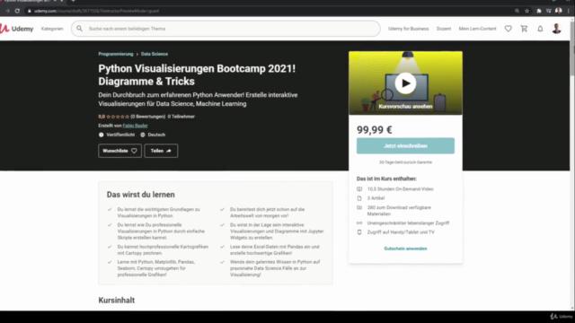 Python Visualisierungen Bootcamp 2021! Diagramme & Tricks