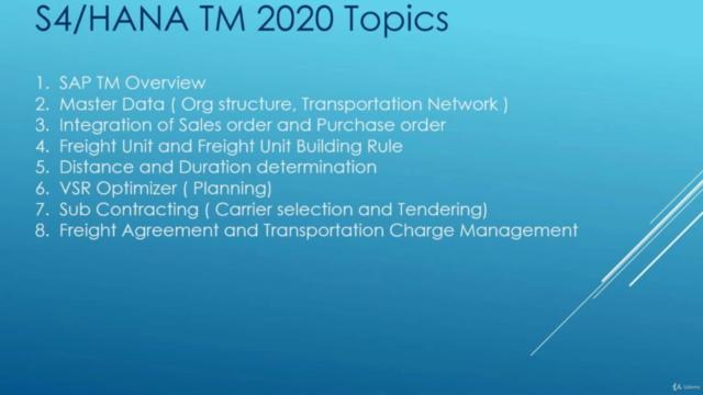 SAP S/4HANA TM (Transportation Management) 2020 Functional