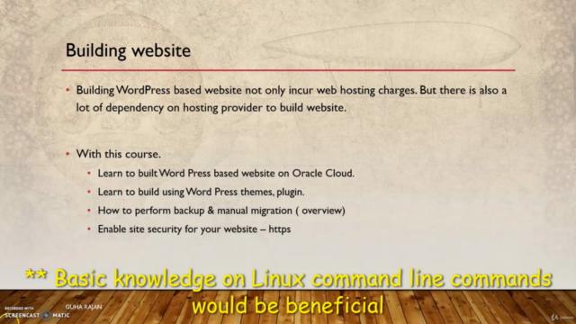 Wordpress website built on Oracle Cloud - Always Free Tier