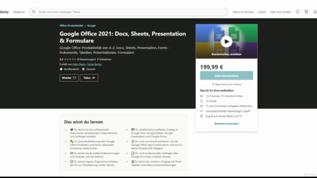 Google Office 2021: Docs, Sheets, Presentation & Formulare
