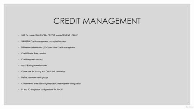 S4 HANA1909 FSCM SD FICO  credit management concepts