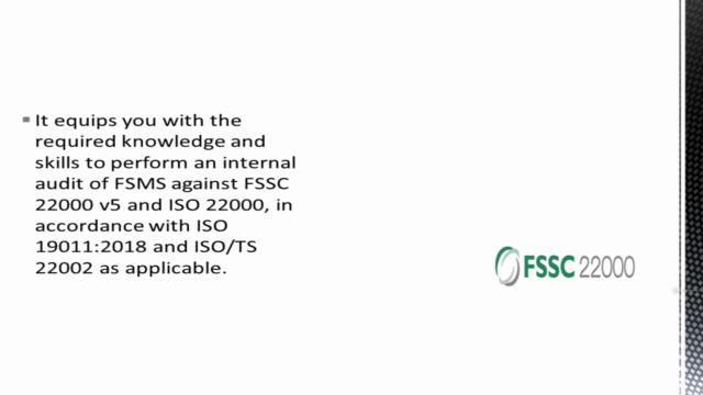 FSSC 22000 v5.1 Implementation and Internal Auditor Course