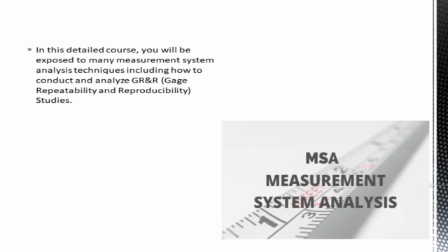 Measurement Systems Analysis (MSA) Training Course